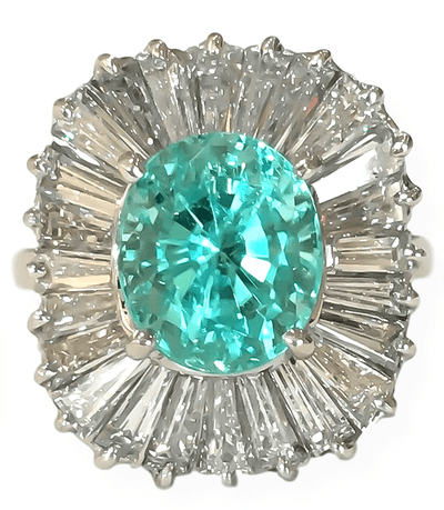 Mark Areias Jewelers Jewellery & Watches Rare Oval Paraiba Tourmaline & Diamond Balleria Ring 18K White Gold 3.38 CT IGI