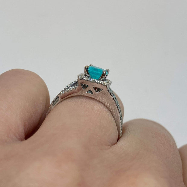Mark Areias Jewelers Jewellery & Watches Rare Round Paraiba Tourmaline & Diamond Halo Ring 14K White Gold .61 Carat AGL