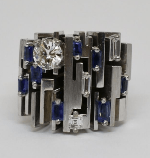 Mark Areias Jewelers Jewellery & Watches Roger Claude Canadian Deco Designer Diamond and Sapphire Ring