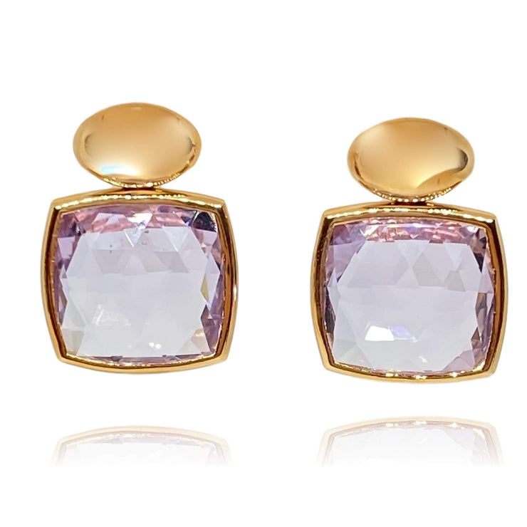 Mark Areias Jewelers Jewellery & Watches Rose Cut Rose De France Amethyst Drop Dangle Post Earrings 18K Rose Gold 15 CTW