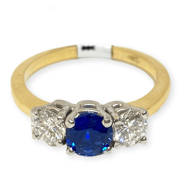 Mark Areias Jewelers Jewellery & Watches Round Ceylon Blue Sapphire & Diamond Three Stone Ring 14KY .80CT