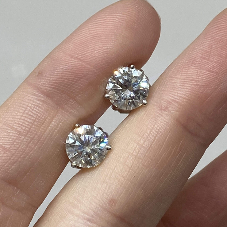 Mark Areias Jewelers Jewellery & Watches Round Diamond Martini Stud Earrings 4.01CTW HRD Certs 14KW H, SI2 XXX