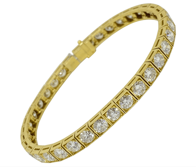 Mark Areias Jewelers Jewellery & Watches Round Diamond Tennis Bracelet Square Link 18K Yellow Gold 10.80 Carat F-G VS1