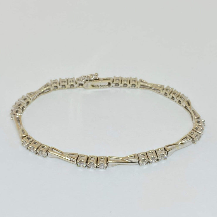 "Mark Areias Jewelers Jewellery & Watches Round Diamond ""X"" Link Bracelet 14K White Gold 7"" 1.90CTW"