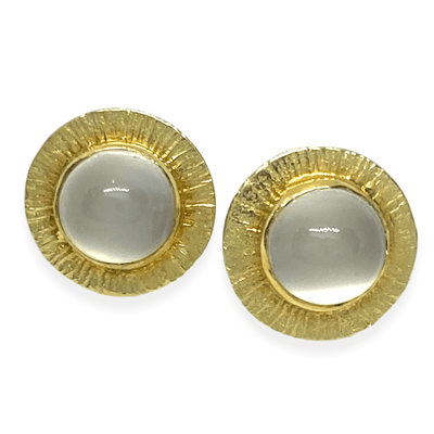 Mark Areias Jewelers Jewellery & Watches Round Disk Cabochon Moonstone Florentine Post Earrings 18KY