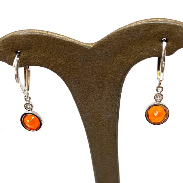 Mark Areias Jewelers Jewellery & Watches Round Vibrant Orange Fire Opal Dangle Bezel Earrings 14KW 1.72ctw