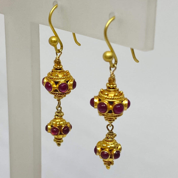 Mark Areias Jewelers Jewellery & Watches Ruby Cabochon Bali Style Dangle Earrings Shepards Hook 18K Yellow Gold