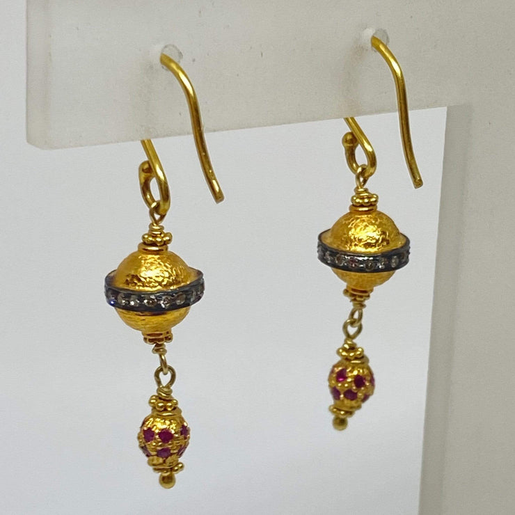 Mark Areias Jewelers Jewellery & Watches Ruby & Diamond Bali Style Dangle Earrings Shepards Hook 18K Yellow Gold