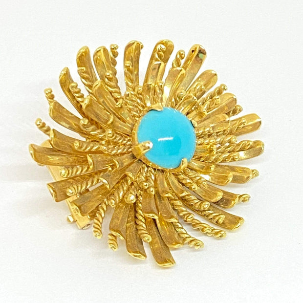 Mark Areias Jewelers Jewellery & Watches Sea Urchin Turquoise Cabochon Brooch 18K Yellow Gold 26 grams