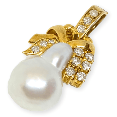 Mark Areias Jewelers Jewellery & Watches Silver Baroque Pearl & Diamond Bell Ribbon Pendant Enhancer 18K Yellow Gold