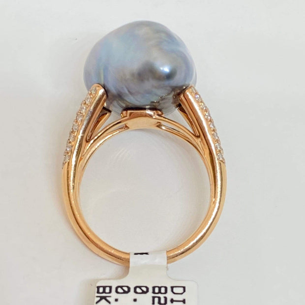 Mark Areias Jewelers Jewellery & Watches Silver Grey Baroque Keshi Tahitian Pearl 14K Rose Gold Ring .47ctw
