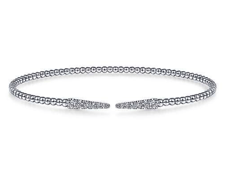 Mark Areias Jewelers Jewellery & Watches Split 14K White Gold Bujukan Bead Cuff Bracelet with Diamond Pave Spikes