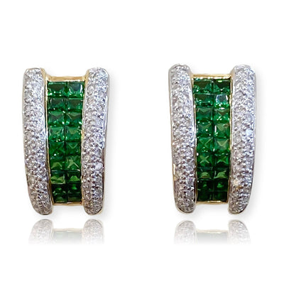"Mark Areias Jewelers Jewellery & Watches Square Tsavorite and Pave Diamond ""J"" Omega Earrings 18K Yellow Gold"
