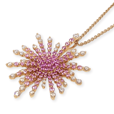 Mark Areias Jewelers Jewellery & Watches Sun Ray Spray Burst Pink Sapphire & Diamond Pendant Necklace 18K Rose Gold