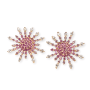 Mark Areias Jewelers Jewellery & Watches Sun Ray Spray Burst Pink Sapphire & Diamond Post Earrings 18K Rose Gold