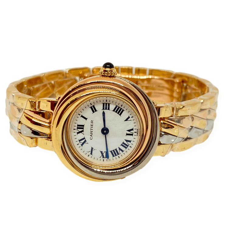Mark Areias Jewelers Jewellery & Watches Trinity Cartier Lady's Watch on Bracelet 18K Tri-Tone Gold Quartz 27mm