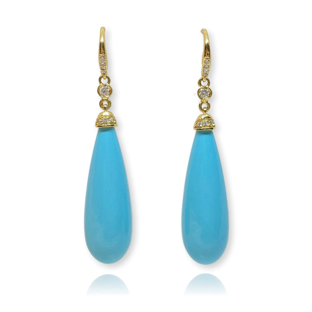 Mark Areias Jewelers Jewellery & Watches Turquoise & Diamond Dangle Drop Earrings 18K Yellow Gold 30 Carats