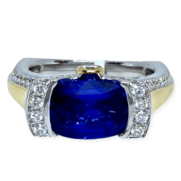 Mark Areias Jewelers Jewellery & Watches Unique Natural Cushion Cut Ceylon Sapphire and Diamond Ring 3.07CT 18K Gold
