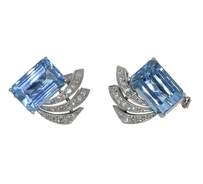 Mark Areias Jewelers Jewellery & Watches Vintage Aquamarine and Diamond Spray Post Earrings Platinum 12 Carat