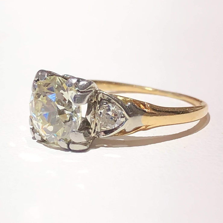 Mark Areias Jewelers Jewellery & Watches Vintage Art Deco Old European Cut Diamond Ring 1.80 carat 14K & Platinum