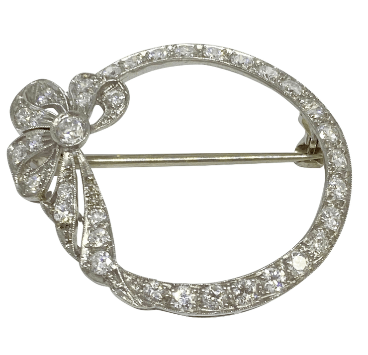 Mark Areias Jewelers Jewellery & Watches Vintage Art Deco Platinum Filigree Brooch Circle with Ribbon 1.45 Carat