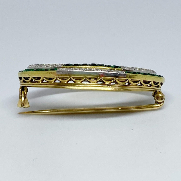 Mark Areias Jewelers Jewellery & Watches Vintage Diamond and Emerald Oval Brooch 18KY & Platinum