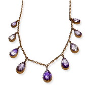 Mark Areias Jewelers Jewellery & Watches Vintage Natural Amethyst Pear Shape Necklace 9K Rose Gold 19""
