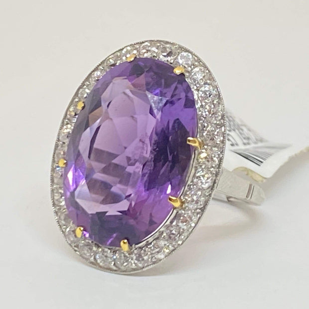 Mark Areias Jewelers Vintage Natural Oval Amethyst & Old Euro Diamond Halo Ring Platinum 12 Carat
