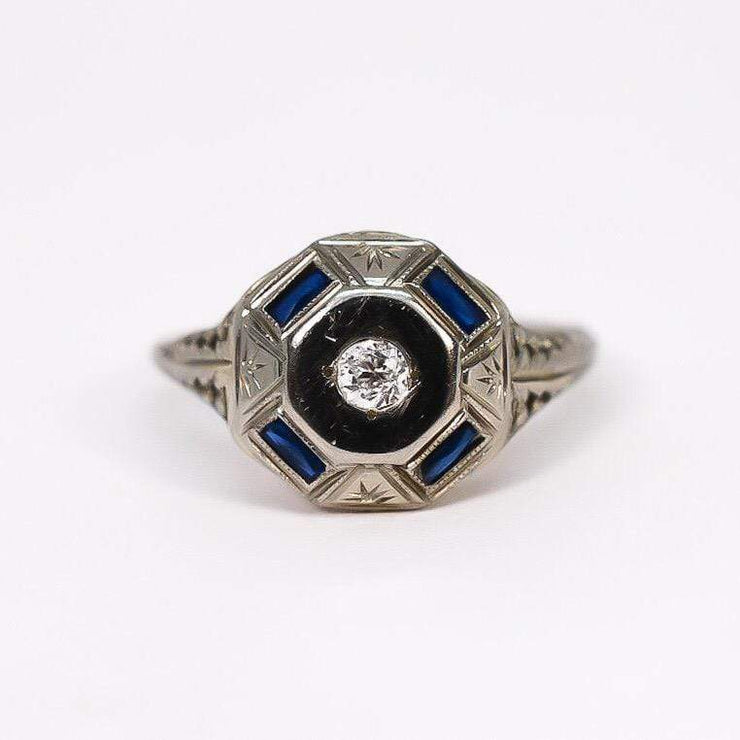 Mark Areias Jewelers Jewellery & Watches Vintage Octagon Sapphire and Diamond Ring 18K White Gold