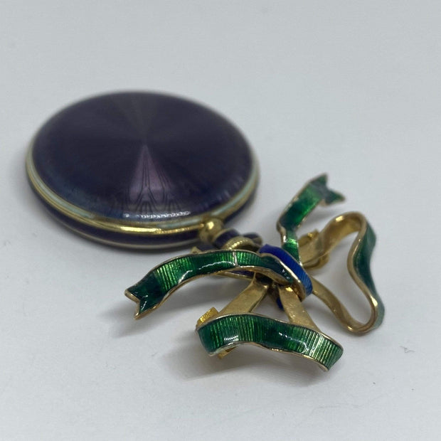 Mark Areias Jewelers Jewellery & Watches Vintage Waltham Purple & Green Enamel Bow Watch Brooch 14KY 29mm