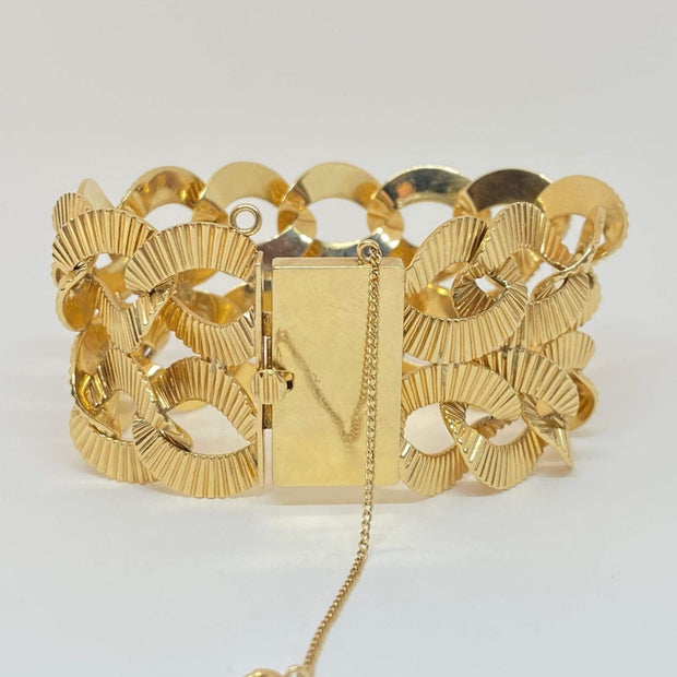 "Mark Areias Jewelers Jewellery & Watches Wide Corrugated Circles Estate Link Bracelet 14K Yellow Gold 1.50"" 70 Grams!"