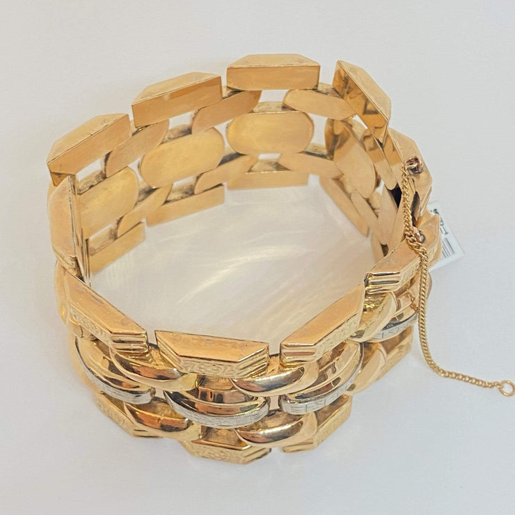 "Mark Areias Jewelers Jewellery & Watches Wide Engraved Two Tone Estate Link Bracelet 14K Yellow Gold 1.50"" 73.73 Grams!"