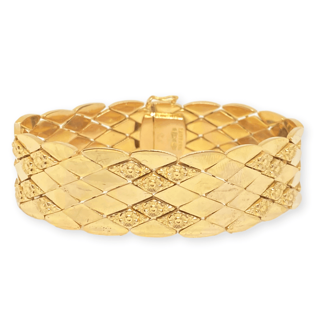 Mark Areias Jewelers Jewellery & Watches Wide Italian Rose Marquise Estate Link Bracelet 18K Yellow Gold 36.76 Grams!