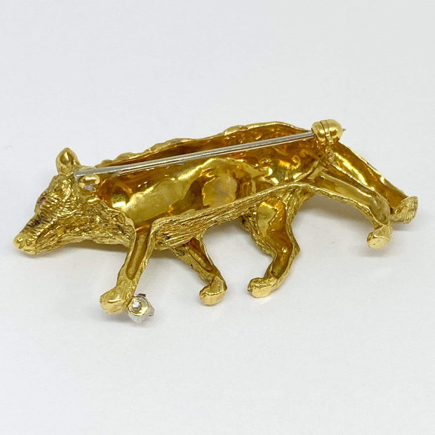 Mark Areias Jewelers Jewellery & Watches Wolf Brooch Pin with Diamond & Ruby 18K Yellow Gold .05ct 12.22 grams