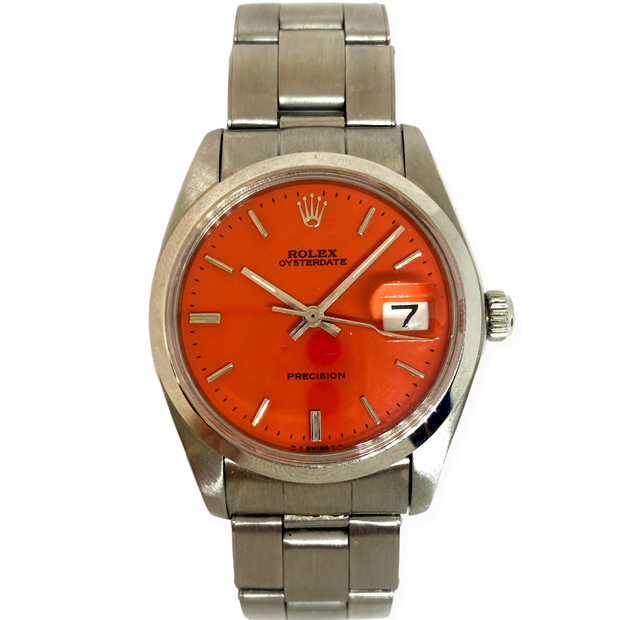 Pre-Owned Rolex Men's Vintage Oysterdate Precision Orange Steel Watch 35mm 6694