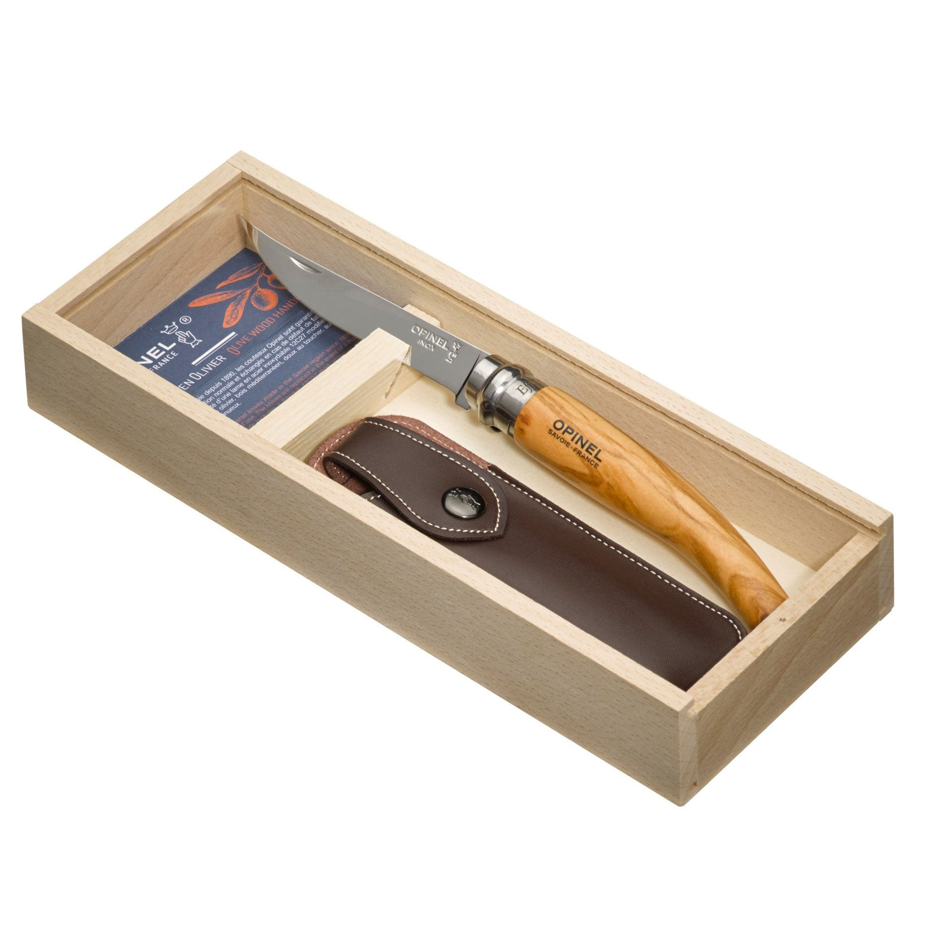 Opinel Slim No.10 Olive Wood with Wood Box & Sheath