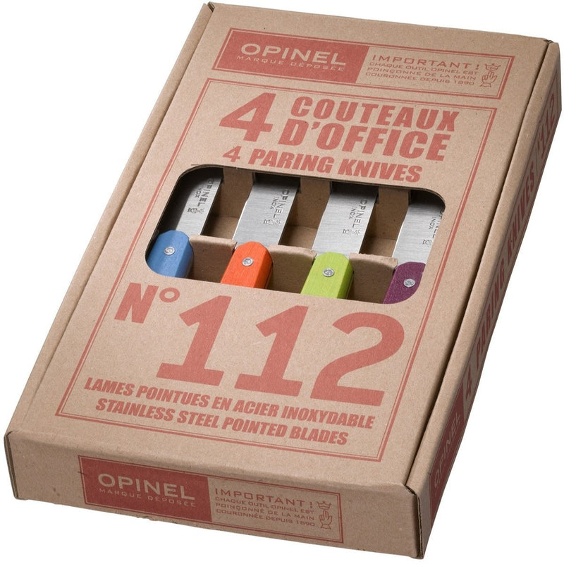 Opinel Paring Knives No112 Mixed Pastel Colors (Box Of 4) Small Kitchen Knife