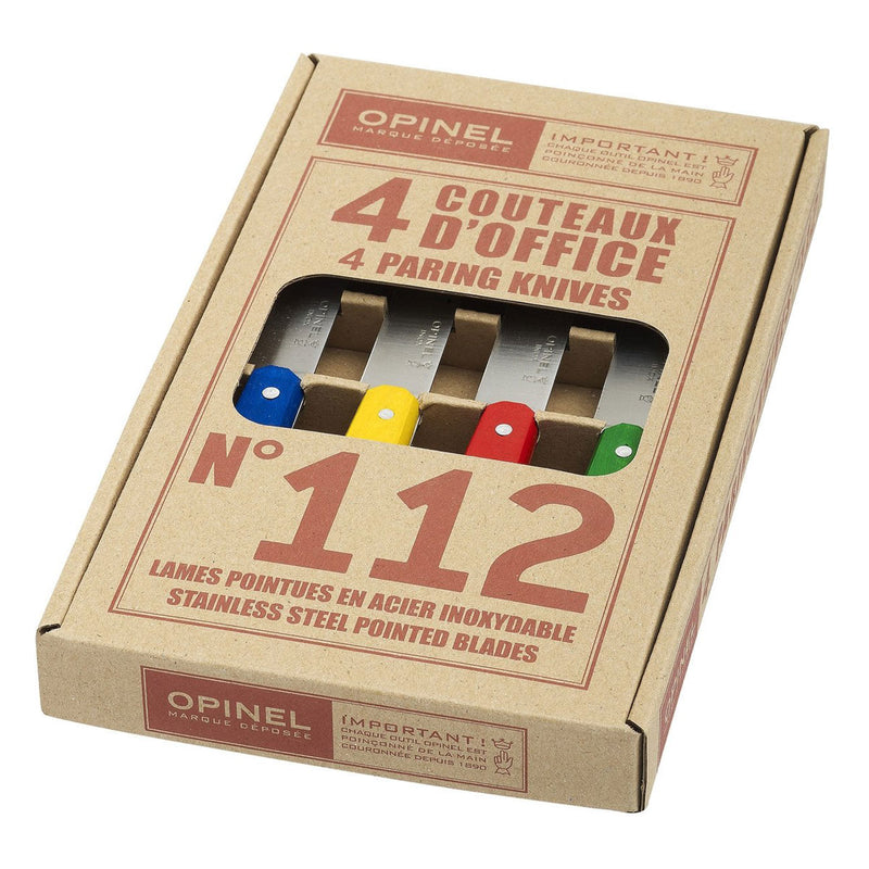 Opinel No.112 Mixed Colors Paring Knives (Box Of 4) Small Kitchen Knife