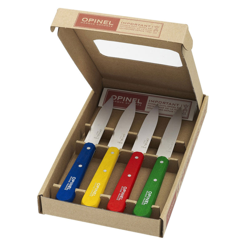 Opinel No.112 Mixed Colors Paring Knives (Box of 4)