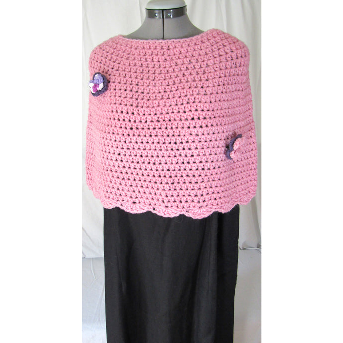 Crochet Pink Shoulder Cape with 2 Removeable Flowers