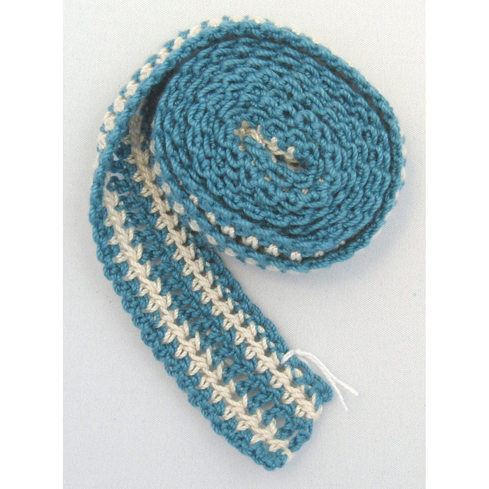 Medium Blue Beige Crochet Belts