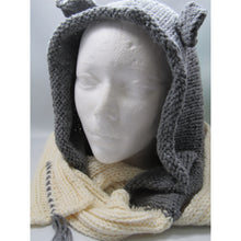 Load image into Gallery viewer, Grey Knit Hood with Ears and White Scarf