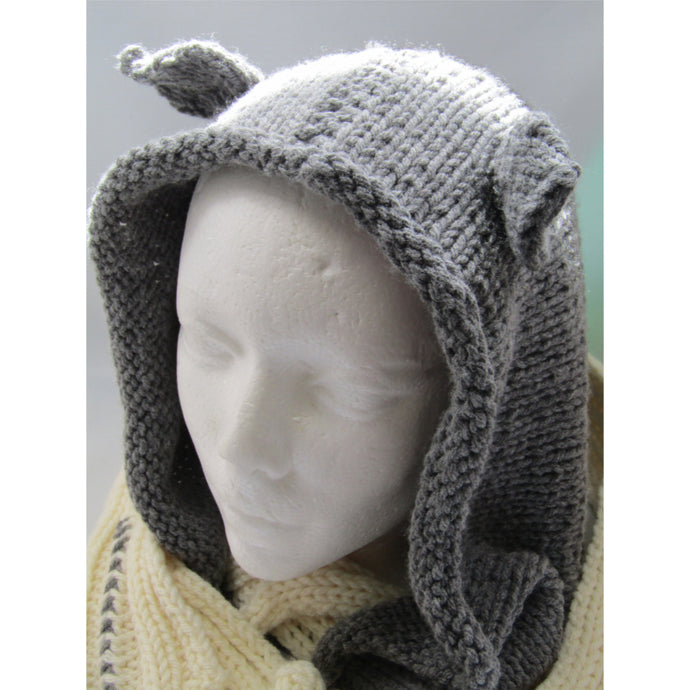 Grey Knit Hood with Ears and White Scarf