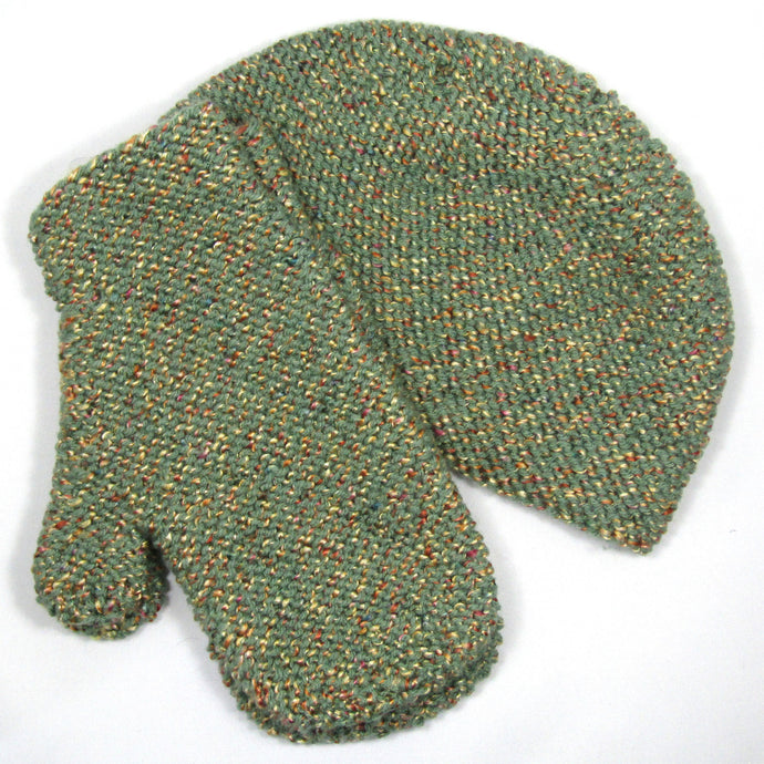 Green Knit Hat & Mitten Set
