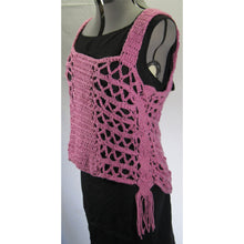 Load image into Gallery viewer, Pink Macrame Crochet Top