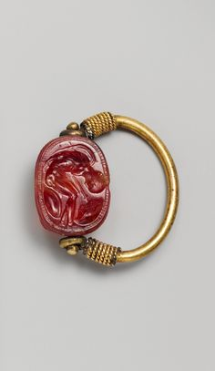 Carnelian scarab Period: Late Classical. Date: early 4th century B.C. Culture: Etruscan