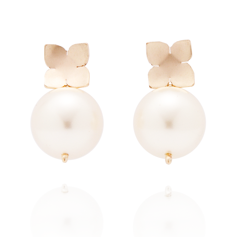 Flower Studs (14K Gold-filled) White Pearl