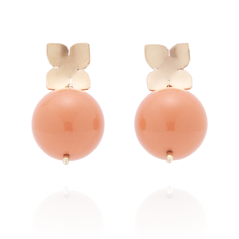 Flower Studs (14K Gold-filled) Coral Pearl