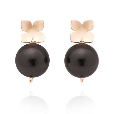 Flower Studs (14K Gold-filled) Black Pearl
