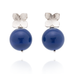 Flower Studs (Sterling Silver) Lapis Pearl
